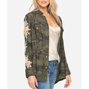 Johnny Was Camouflage Embroidered Military Jacket